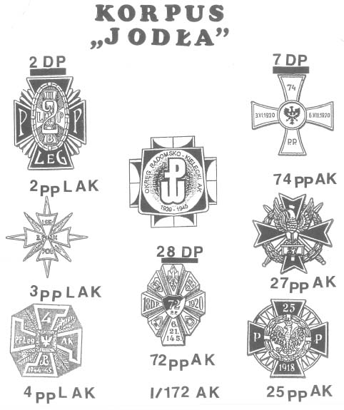 """Odznaki pamiątkowe pułków (w znacznej mierze wzorowane na przedwojennych), które brały udział w """"Planie Burza""""."""