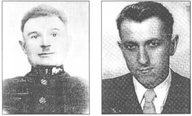 """(po lewej) Gajowy Józef Chruścielewski z Mechlina, który z drugim leśnikiem uratował od niechybnej śmierci partyzanta """"Gozdawę"""" (po prawej) St. strz. """"Gozdawa"""" (Kazimierz Dyszlewski) - zdjęcie powojenne"""