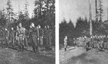 """(po lewej) """"Ponury"""" (Jan Piwnik) i """"Robot"""" (Waldemar Szwiec). W głębi pluton """"Allana"""" (Tadeusz Jencz). (po prawej) """"Robot"""" (Waldemar Szwiec) zdaje raport """"Ponuremu"""" (Jan Piwnik). Od lewej plutony: """"Wilka"""" (Józef Domagała), """"Czarki"""" (Jan Rogowski), """"Allana"""" (Tadeusz Jencz)."""