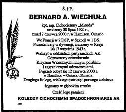 """Nekrolog zamieszczony w """"Dziennoku Polskim"""" z 13 czerwca 2000 r. w Kanadzie."""