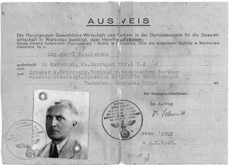 Dokument z 6.10.1942 roku potwierdzający że inż. Karol Czaplarski jest właścicielem Przedsiębiorstwa Sprzedaży Artykułów Technicznych