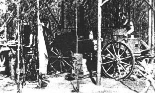 Kuchnia polowa w obozowisku leśnym w Obwodzie Radomsko.