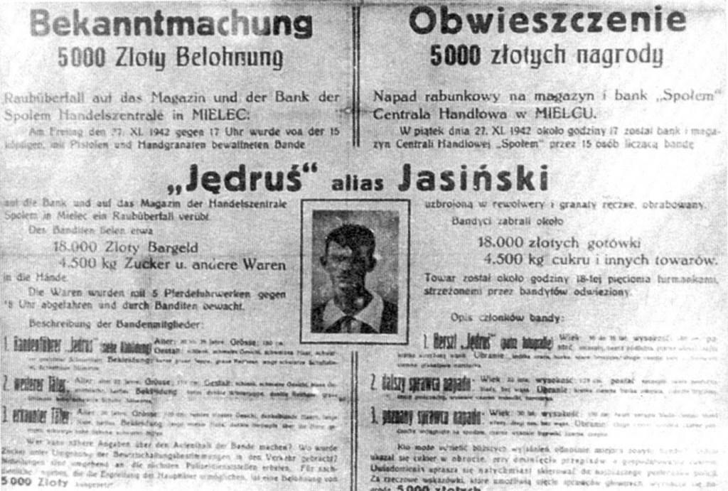 """Na terenie Sandomierszczyzny walczył skutecznie oddział """"Jędrusiów"""". Niemiecki list gończy za dowódcą """"Jędrusiów"""" Władysławem Jasińskim. Listopad 1942 r."""