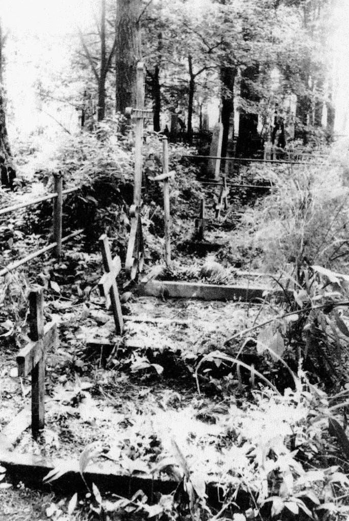 """Cmentarz poległych w walce z Niemcami partyzantów Ziemi Nowogrodzkiej w Wawiórce k.Wasiliszek. Mogiła """"Ponurego"""" pośrodku z wysokim krzyżem."""