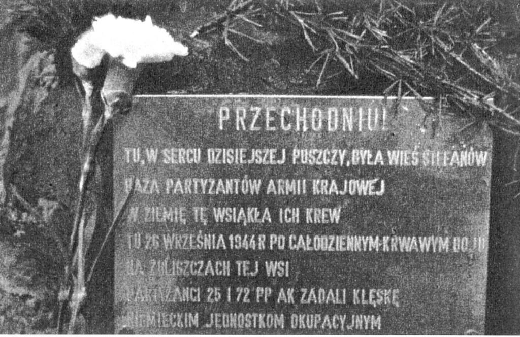 Tablica na obelisku w Stefanowie.