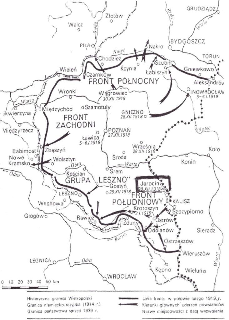 Mapa działań powstańców wielkopolskich 1918 - 1919 r. Widać, że zasięg pokrywał się z późniejszą zachodnią granicą Polski,zatwierdzoną w czerwcu 1919 r. przez Traktat Wersalski.