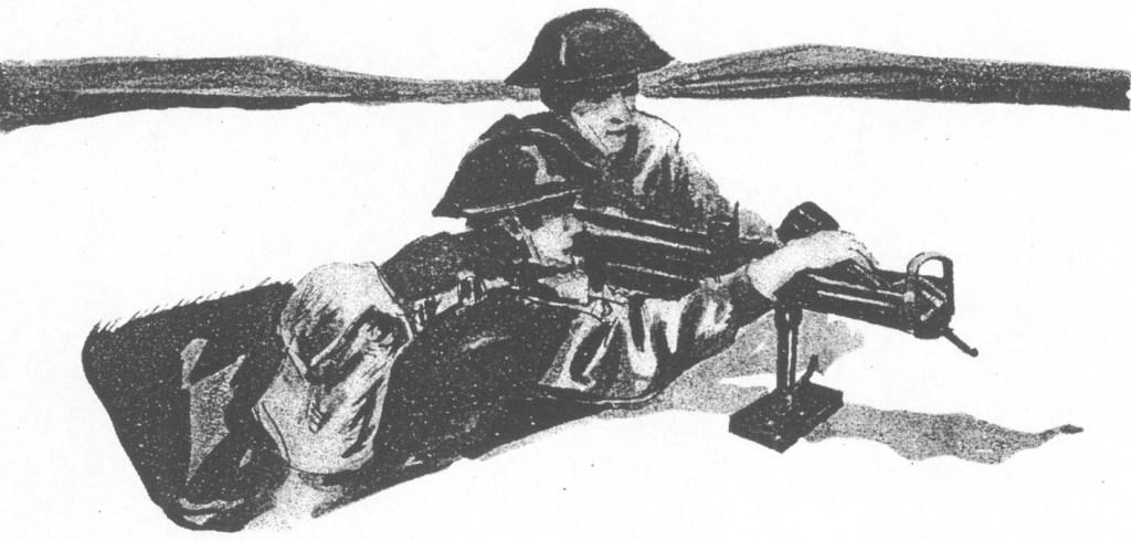 Ładowanie miotacza przez amunicyjnego.