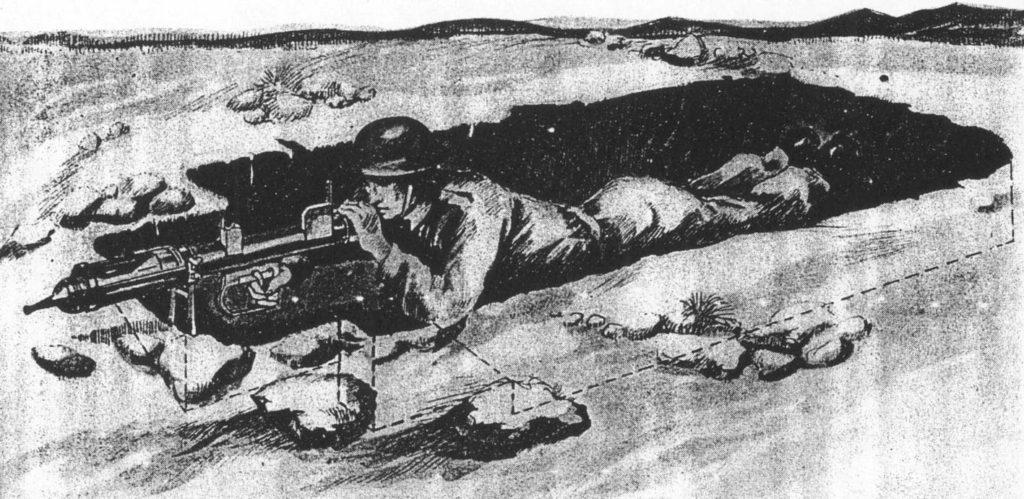 Strzelanie z miotacza przeciwpancernego PIAT, rysunek pochodzi z orginalnej instrikcji obsługi.
