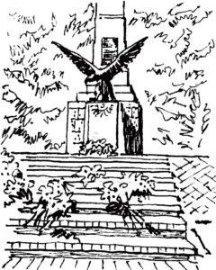 (Skarżysko -Kamienna - pomnik na mogile pomordowanych w 1940 r. na Brzasku) rys. Maria Biała-Żwinis